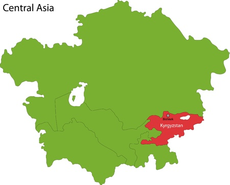 landlocked country: Location of Kyrgyzstan on Central Asia