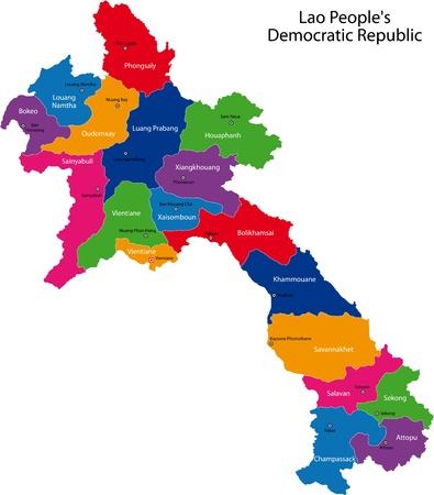 Kaart van de administratieve afdelingen van Laos