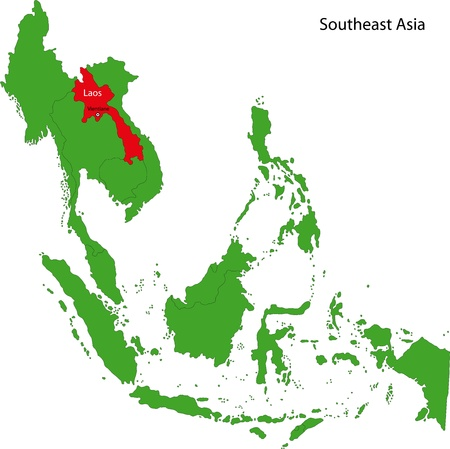 southeast: Location of Laos on  Southeast Asia