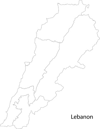 beirut lebanon: Map of administrative divisions of Lebanon Illustration