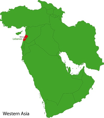 western asia: Location of Lebanon on Western Asia