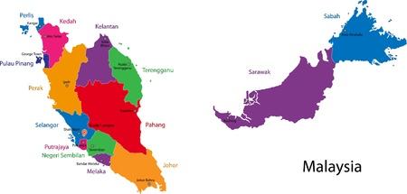 Kaart van de administratieve afdelingen van Maleisië