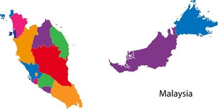 Mapa de las divisiones administrativas de Malasia