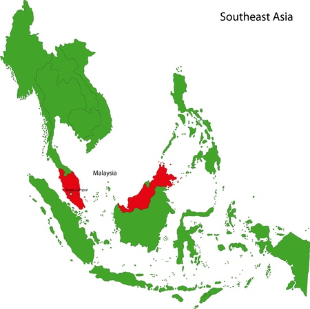 Location of Malaysia on Southeast Asia