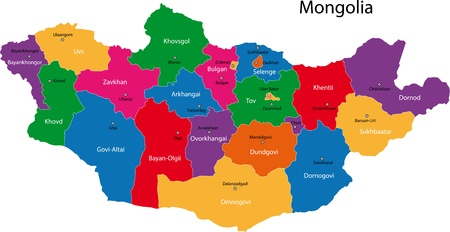 mongol: Map of administrative divisions of Mongolia