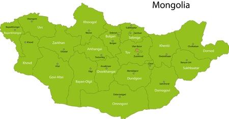 landlocked country: Mapa de las divisiones administrativas de Mongolia