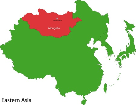 landlocked country: Ubicaci�n de Mongolia en Asia Oriental Vectores