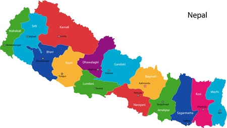 landlocked: Map of administrative divisions of Nepal Illustration