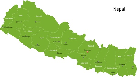 geographically: Map of administrative divisions of Nepal Illustration