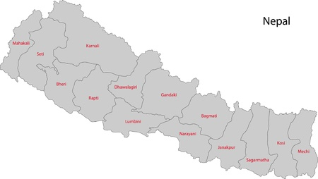 political division: Map of administrative divisions of Nepal Illustration