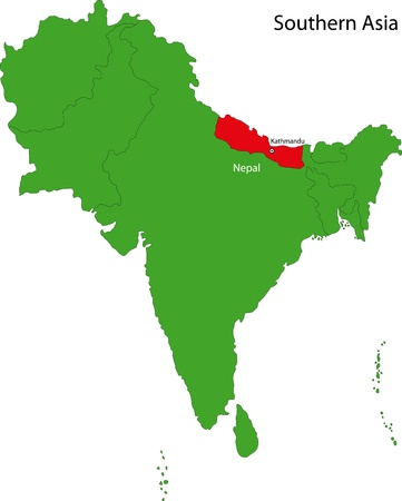 landlocked country: Location of Nepal on Southern Asia