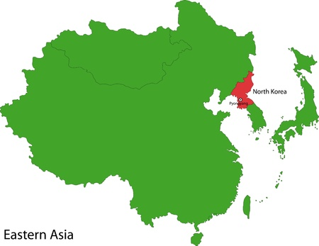 geographically: Location of North Korea on Eastern Asia