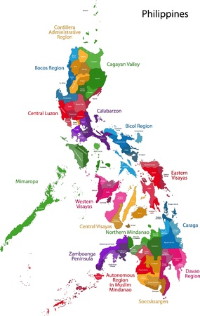 geographically: Map of administrative divisions of Philippines Illustration