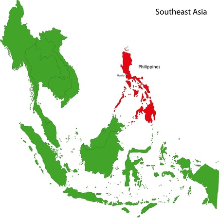 southeast: Location of Philippines on Southeast Asia Illustration