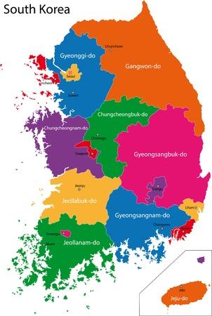 seoul: Carte des divisions administratives de la Cor�e du Sud