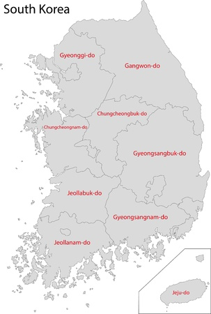 geographically: Map of administrative divisions of South Korea