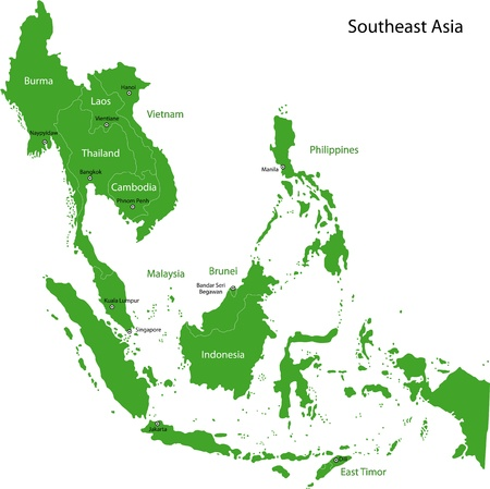 Map of Southeastern Asia Vector