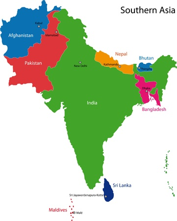 Map of Southern Asia