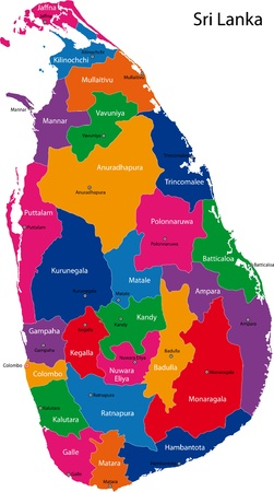 ceylon: Map of administrative divisions of Sri Lanka