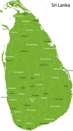 Map of administrative divisions of Sri Lanka  Vector