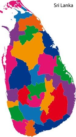 sri: Map of administrative divisions of Sri Lanka