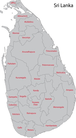 Map of administrative divisions of Sri Lanka