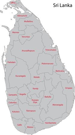 lanka: Map of administrative divisions of Sri Lanka