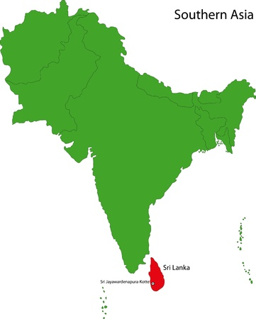 colombo: Location of Sri Lanka on Southern Asia