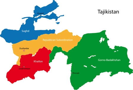 politically: Map of administrative divisions of Tajikistan Illustration