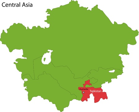 geographically: Location of Tajikistan on Central Asia