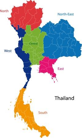 Kaart van de administratieve afdelingen van Thailand
