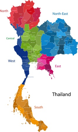 geographically: Map of Kingdom of Thailand with the provinces colored in bright colors Illustration
