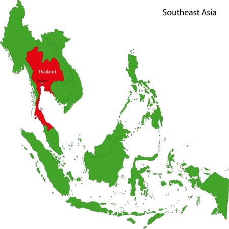 Location of Thailand on the Southeast Asia Vector