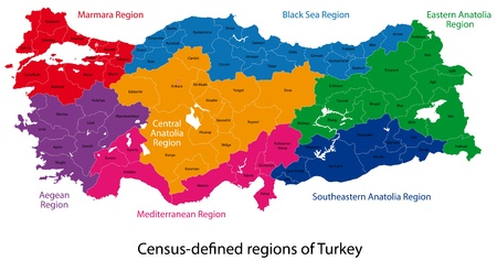Map of administrative divisions of Turkey Vector