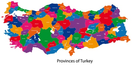 geographically: Map of administrative divisions of Turkey