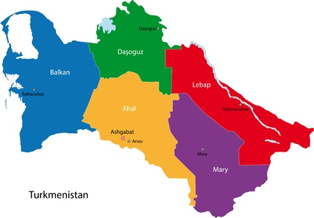 geographically: Map of administrative divisions of Turkmenistan