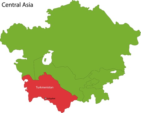geographically: Location of Turkmenistan on Central Asia Illustration