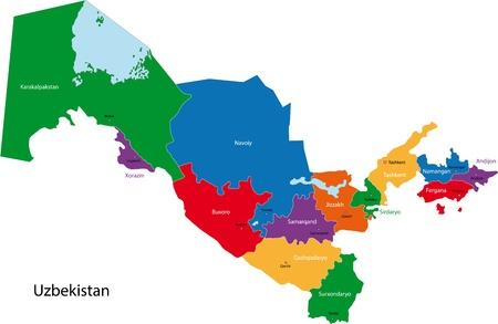 oezbekistan: Kaart van de administratieve afdelingen van Oezbekistan Stock Illustratie