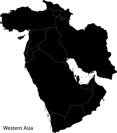 Map of Western Asia Vector