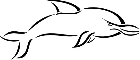 balck: Black and white cartoon style dolphin Illustration