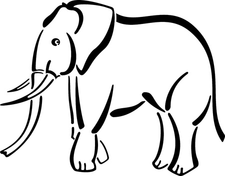 balck and white: Abstact vector picture of black elephant