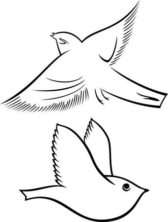 birds  silhouette: Set of abstract black flying bird symbol Illustration