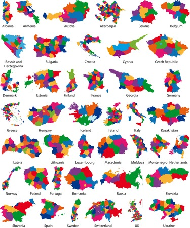 Vector illustrations of 42 country of Europe