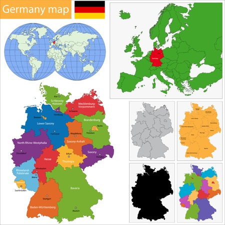 Germany map with regions and main cities Illustration