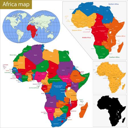 Colorido mapa de África con los países