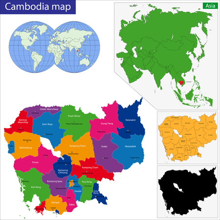 cambodia: Map of Kingdom of Cambodia with the provinces colored in bright colors