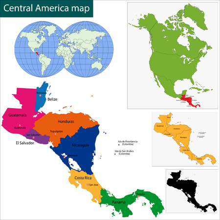 central america: Map of Central America map with country borders