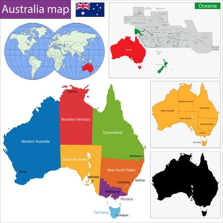 darwin: Colorful Australia map with regions and main cities