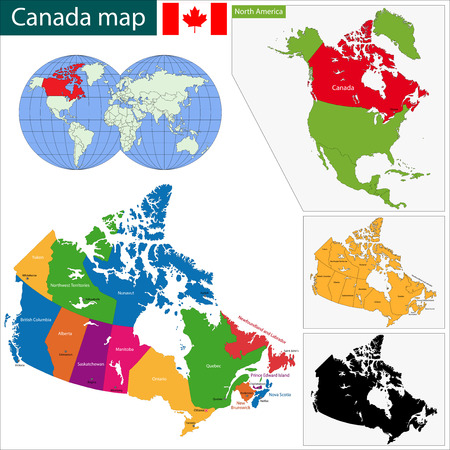 Colorful Canada map with provinces and capital cities Vector