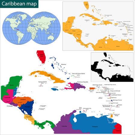 trinidad and tobago: Colorful Caribbean map with countries and capital cities